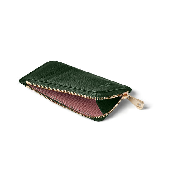 Zipped Coin & Card Holder in Evergreen Pebble from Aspinal of London