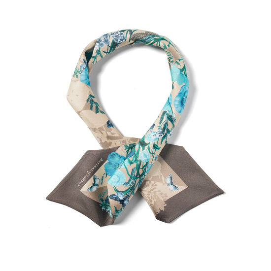 Botanical 'A' Silk Neck Bow Scarf in Storm Pure Silk from Aspinal of London