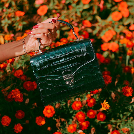 Midi Mayfair Bag in Dragonfly Croc Print from Aspinal of London
