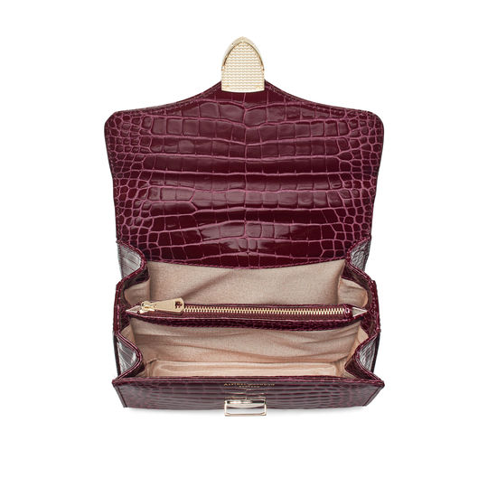 Midi Mayfair Bag with Chain Strap in Bordeaux Patent Croc from Aspinal of London