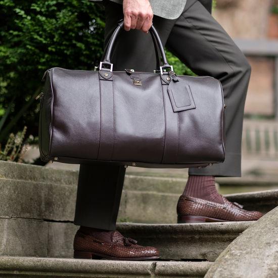 Boston Bag in Dark Brown Pebble Calf from Aspinal of London