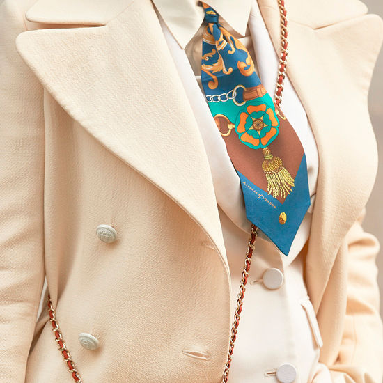 Aspinal Signature Shield Neck Bow in Teal from Aspinal of London
