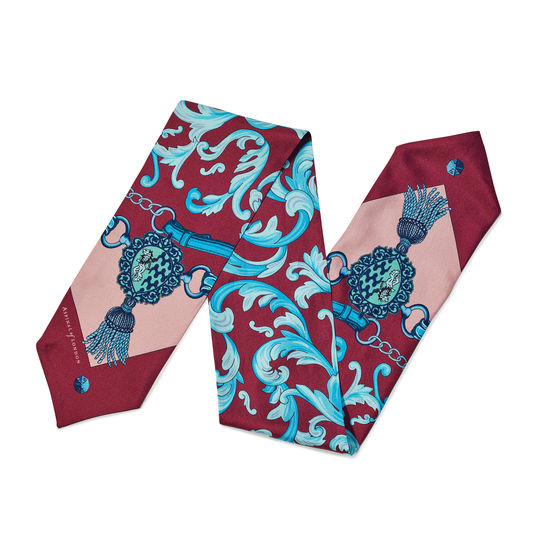 Signature Shield Silk Neck Bow Scarf in Bordeaux from Aspinal of London