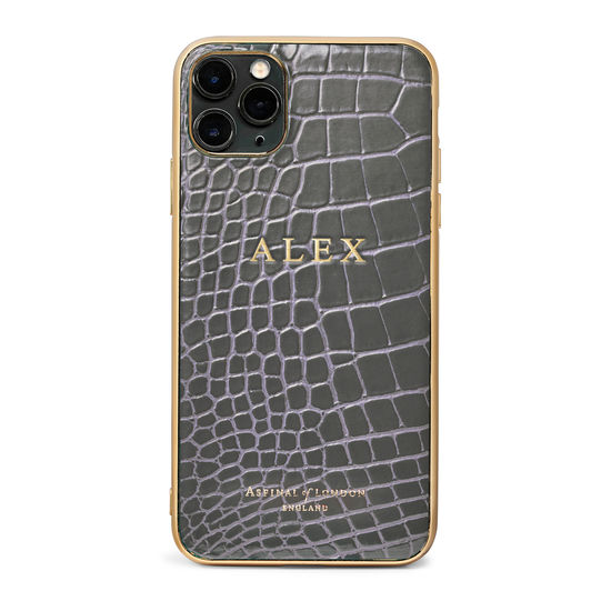 iPhone 11 Pro Max Case with Gold Edge in Storm Patent Croc from Aspinal of London