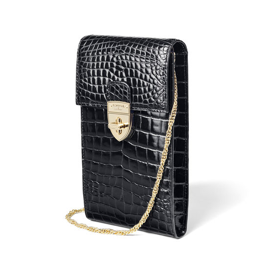 Mayfair Phone Case in Black Patent Croc from Aspinal of London