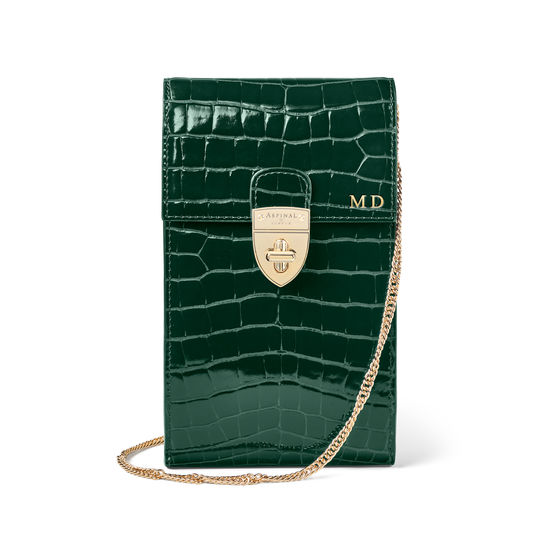 Mayfair Phone Case in Evergreen Patent Croc from Aspinal of London