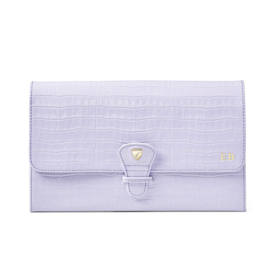 Travel Collection with Removable Inserts in Deep Shine English Lavender Croc from Aspinal of London