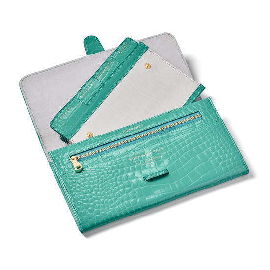 Travel Collection with Removable Inserts in Chalkhill Blue Patent Croc from Aspinal of London