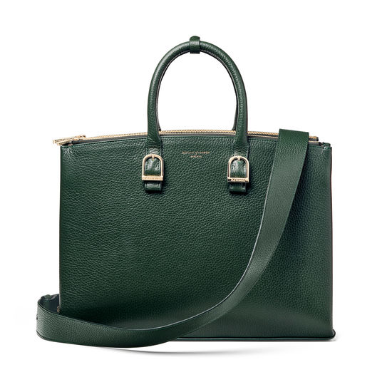 Madison Tote in Evergreen Pebble from Aspinal of London