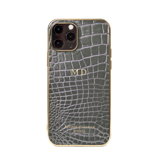 iPhone 12 / 12 Pro Case in Storm Patent Croc from Aspinal of London