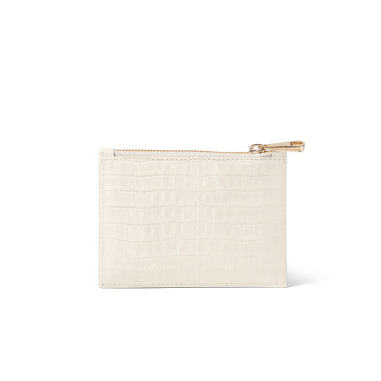 Small Essential Flat Pouch in Ivory Croc from Aspinal of London