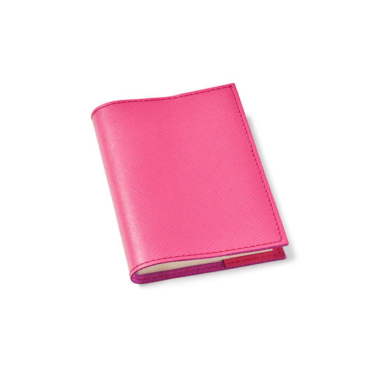 Refillable Pocket Notebook in Bright Pink Saffiano from Aspinal of London