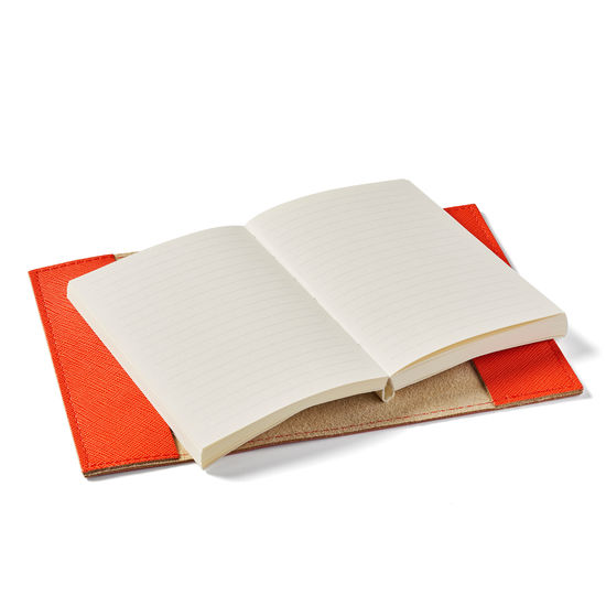 Refillable Pocket Notebook in Bright Orange Saffiano from Aspinal of London