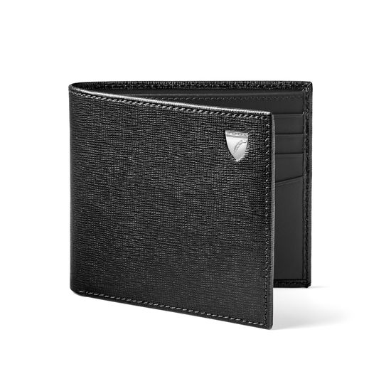 8 Card Billfold Wallet in Black Saffiano & Smooth Black from Aspinal of London
