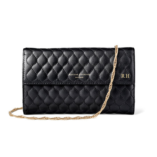 London Clutch Purse with Chain in Black Quilted Kaviar from Aspinal of London