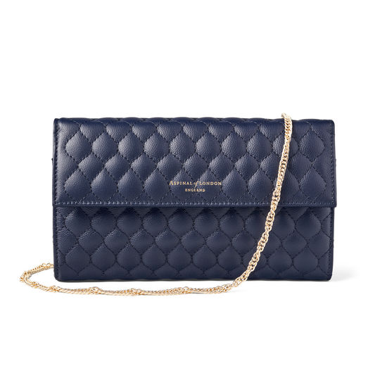 London Clutch Purse with Chain in Navy Quilted Kaviar from Aspinal of London