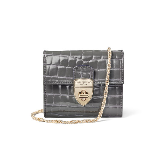 Small Mayfair Purse with Chain in Storm Patent Croc from Aspinal of London