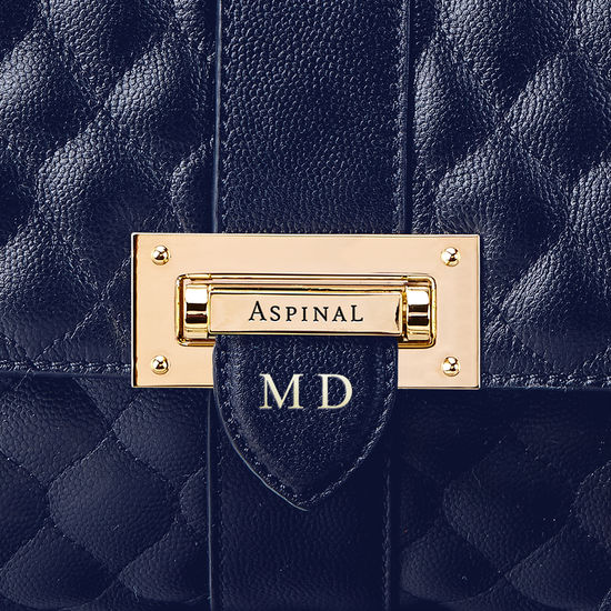 Large Lottie Bag in Navy Quilted Kaviar from Aspinal of London