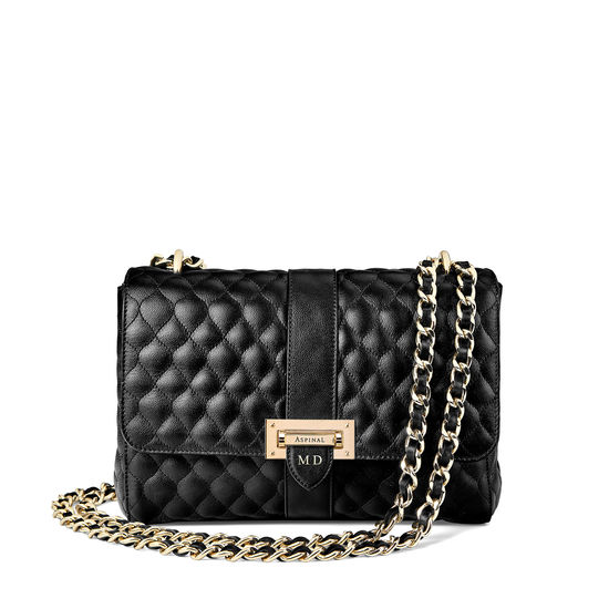 Large Lottie Bag in Black Quilted Kaviar from Aspinal of London