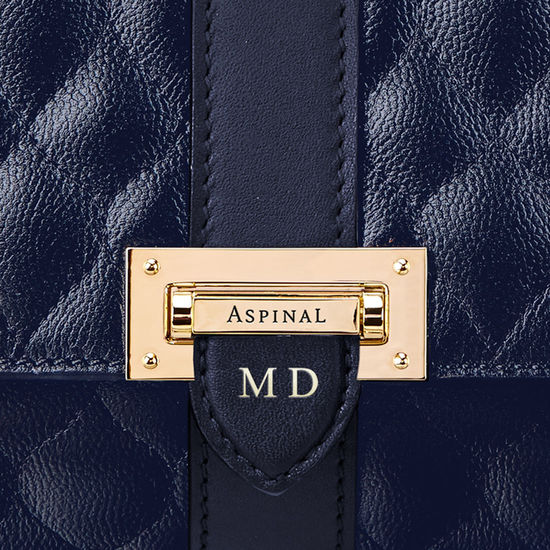 Lottie Bag in Navy Quilted Kaviar from Aspinal of London
