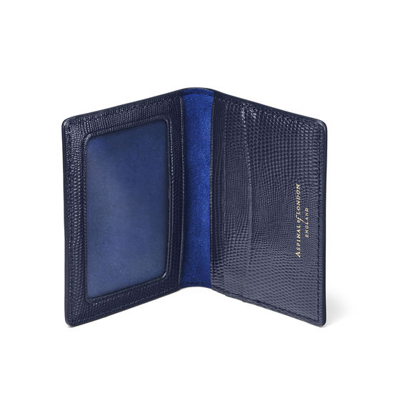 ID & Travel Card Holder in Midnight Blue Silk Lizard & Navy Suede from Aspinal of London