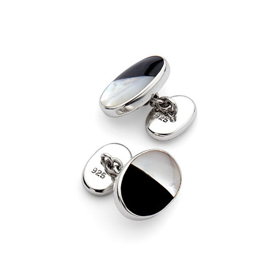 Oval Sterling Silver Mother of Pearl & Onyx Cufflinks from Aspinal of London