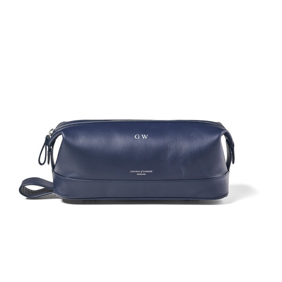 Men's Leather Washbag in Smooth Bluemoon from Aspinal of London