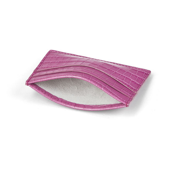 Slim Credit Card Case in Deep Shine Hibiscus Small Croc from Aspinal of London