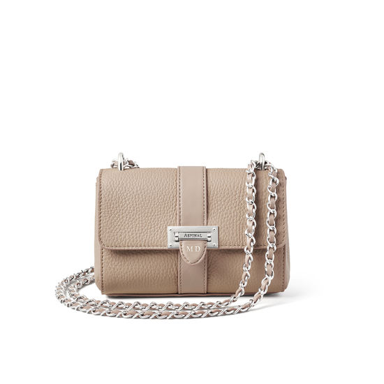 Micro Lottie Bag in Soft Taupe Pebble from Aspinal of London