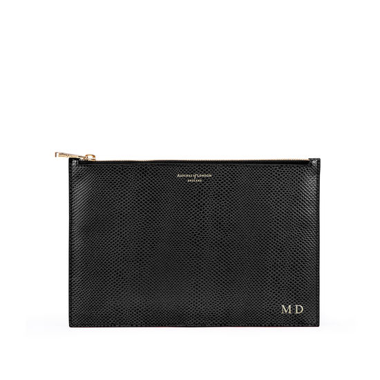 Large Essential Flat Pouch in Black Lizard from Aspinal of London