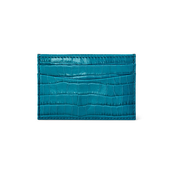 Slim Credit Card Case in Deep Shine Topaz Small Croc from Aspinal of London