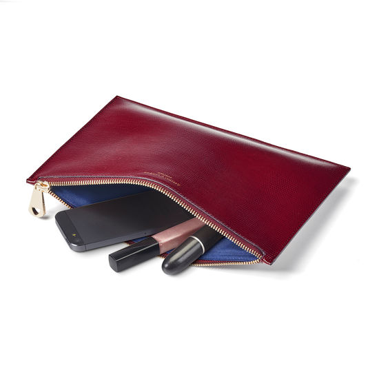 Large Essential Flat Pouch in Bordeaux Silk Lizard from Aspinal of London