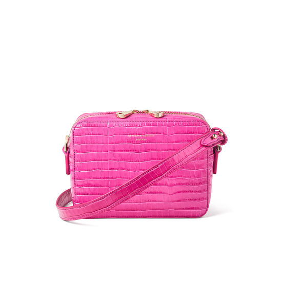 Camera Bag in Deep Shine Penelope Pink Small Croc from Aspinal of London