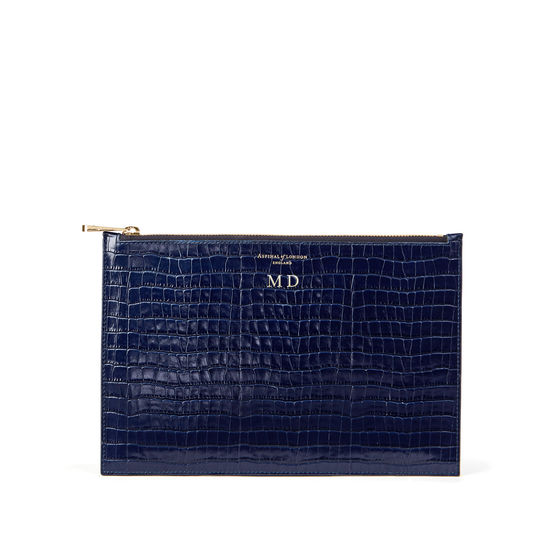 Large Essential Flat Pouch in Deep Shine Midnight Blue Small Croc from Aspinal of London