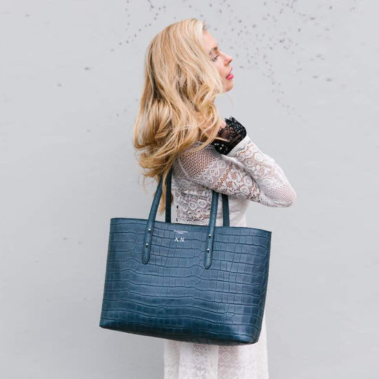 Regent Tote in Deep Shine Marmalade Small Croc from Aspinal of London