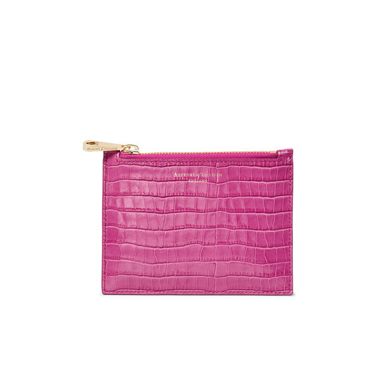 Small Essential Flat Pouch in Deep Shine Hibiscus Small Croc from Aspinal of London