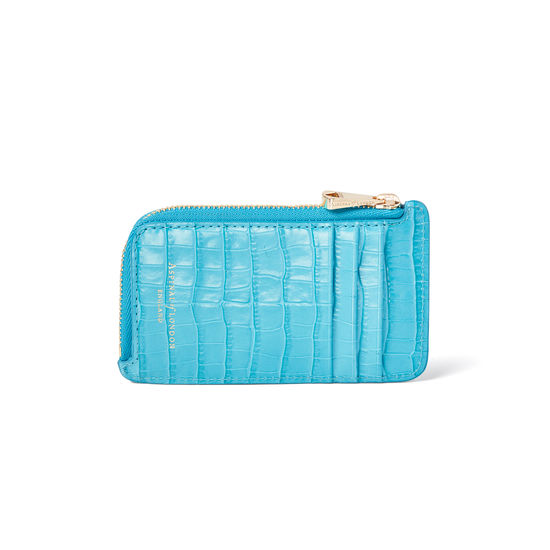 Zipped Coin & Card Holder in Deep Shine Aqua Small Croc from Aspinal of London