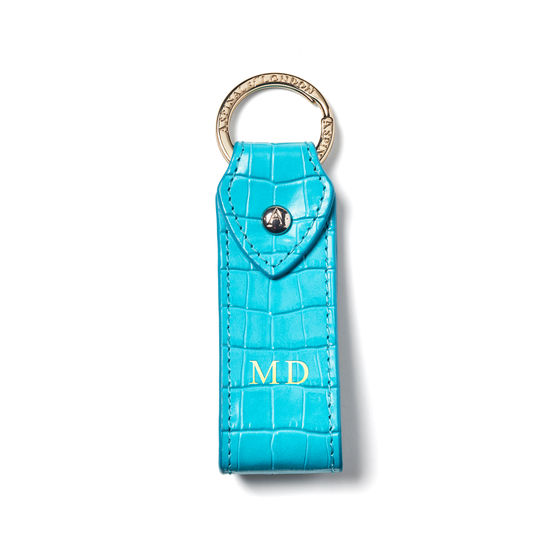 Leather Loop Keyring in Deep Shine Aqua Small Croc from Aspinal of London
