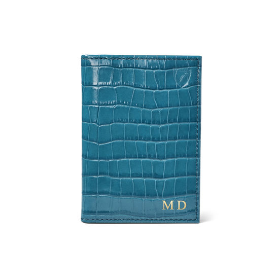 Double Fold Credit Card Case in Deep Shine Topaz Small Croc from Aspinal of London
