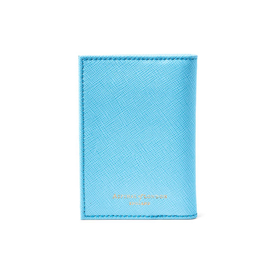 Double Fold Credit Card Case in Bright Blue Saffiano from Aspinal of London
