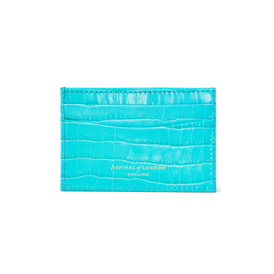 Slim Credit Card Case in Deep Shine Aqua Small Croc from Aspinal of London