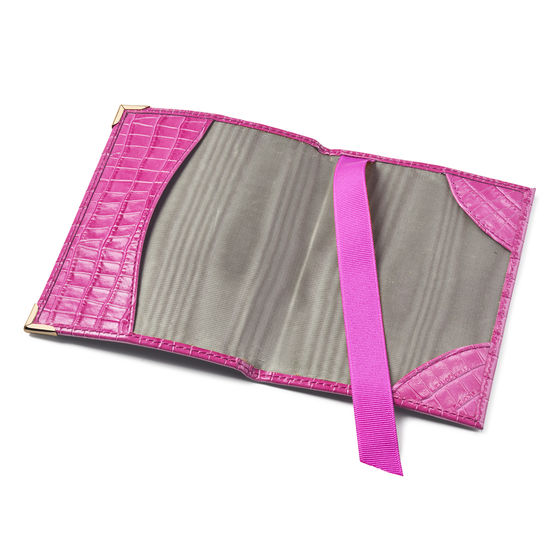 Passport Cover in Deep Shine Hibiscus Small Croc from Aspinal of London