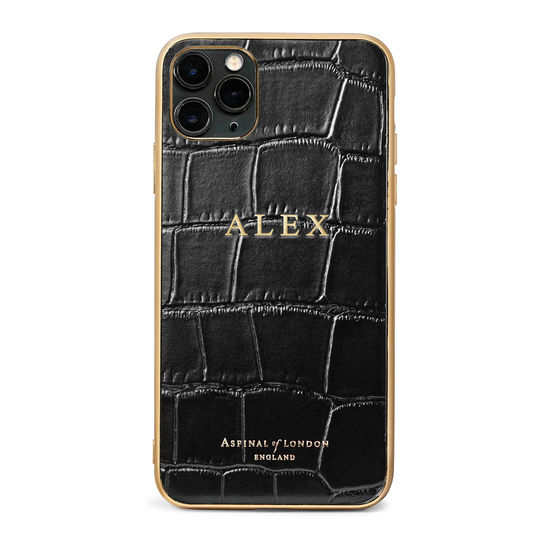 iPhone 11 Pro Max Case in Deep Shine Black Croc from Aspinal of London
