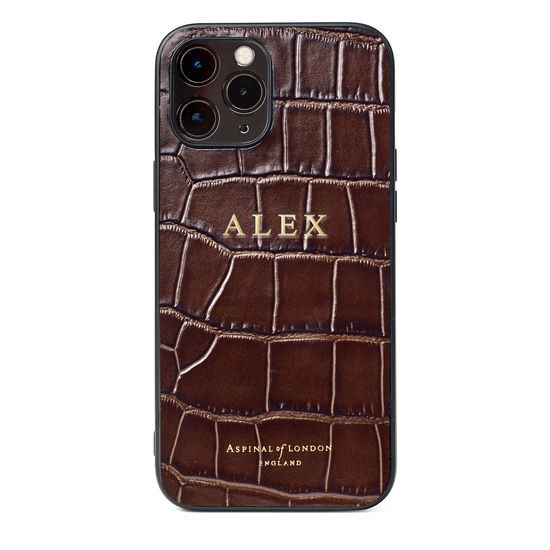 iPhone 12 Pro Max Case in Deep Shine Amazon Brown Croc from Aspinal of London