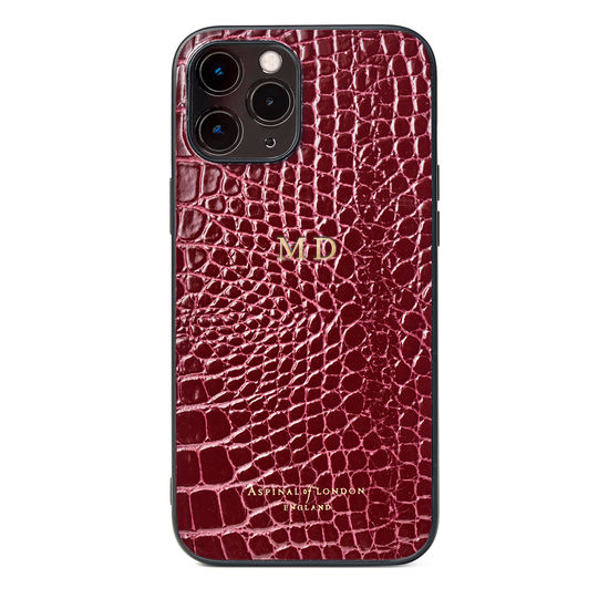 iPhone 12 Pro Max Case in Bordeaux Patent Croc from Aspinal of London