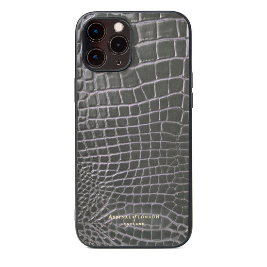 iPhone 12 Pro Max Case in Storm Patent Croc from Aspinal of London