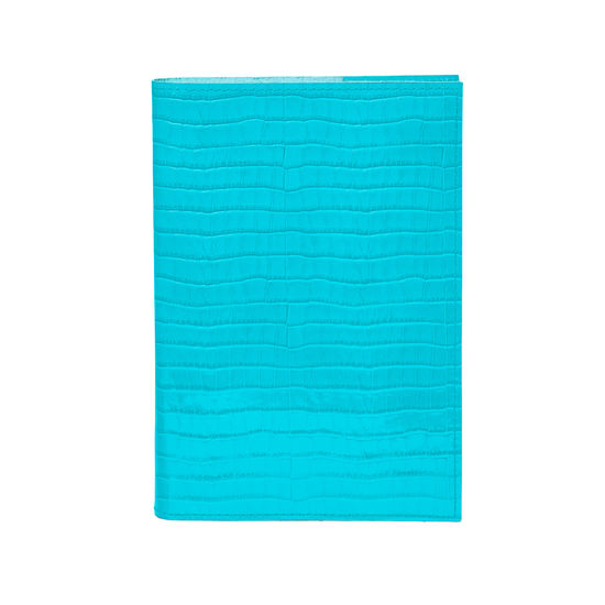 A5 Refillable Leather Journal in Deep Shine Aqua Small Croc from Aspinal of London