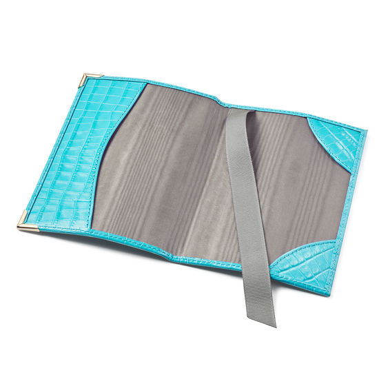 Passport Cover in Deep Shine Aqua Small Croc from Aspinal of London
