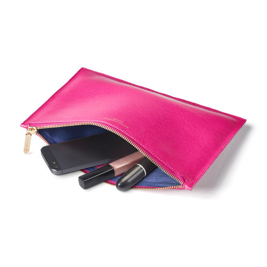 Large Essential Flat Pouch in Penelope Pink Silk Lizard from Aspinal of London