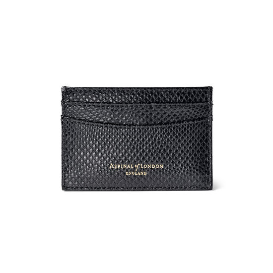 Slim Credit Card Case in Black Lizard from Aspinal of London